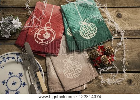 Three Pairs Of Matching Color Table Napkins With Christmas Decor