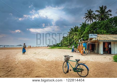 BERUWALA, SRI LANKA - FEBRUARY 7: Beach Moragalla, shop on the beach on February 07, 2014 in Beruwala, Sri Lanka.