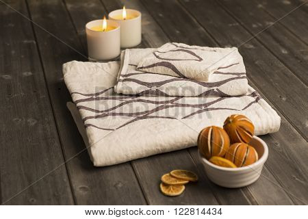 Three White Towels With Brown Concave Line Design