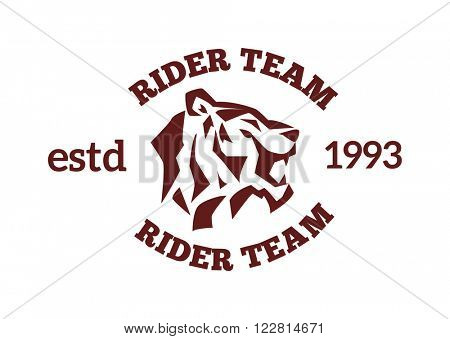 Team logo with tiger face and wildcat siberian tiger face. Tiger fase power symbol. Danger tiger fase animal expression. Portrait siberian tiger by safari animal. Tiger face head silhouette wild