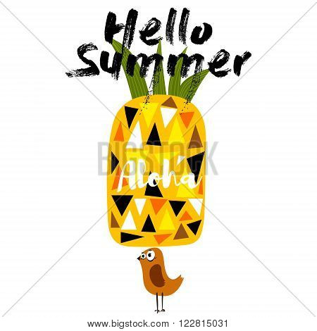 Hello Summer-concept Poster With Pineapple And Bird.- Stock Vector