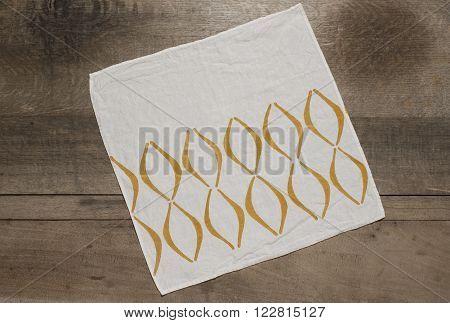 Square Table Napkin With Orange Concave Lines Design