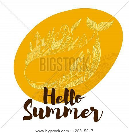 Hello Summer- Awesome Hand Drawn Whale  In Vector. Lovely Card In Stylish Colors With Lettering -sto