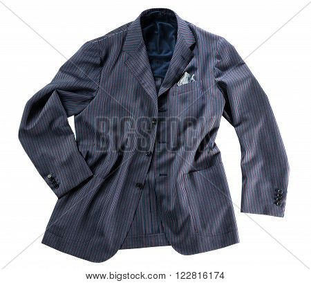 Loosely arranged tailor made blue pin striped jacket with handkercheif in pocket over isolated white background