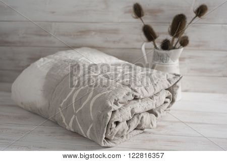 Rolled Two-tone White And Gray Duvet With Thistle Plants