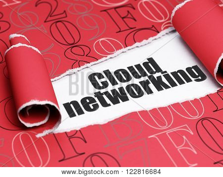 Cloud technology concept: black text Cloud Networking under the piece of  torn paper
