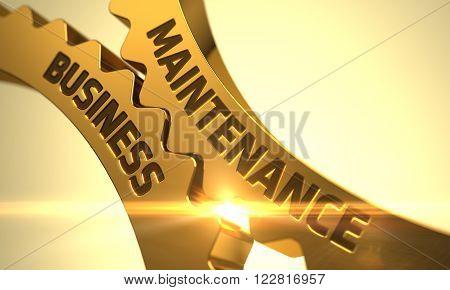 Golden Gears with Maintenance Business Concept. Maintenance Business - Concept. Maintenance Business on Mechanism of Golden Metallic Gears. 3D Render.