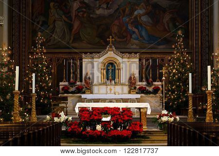 Munich Germany - January 04 2016: Interior of the Catholic Parish and University Church St. Louis the church in neo-romanesque style in center of Munich