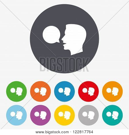 Talk or speak icon. Speech bubble symbol. Human talking sign. Circle colourful buttons.