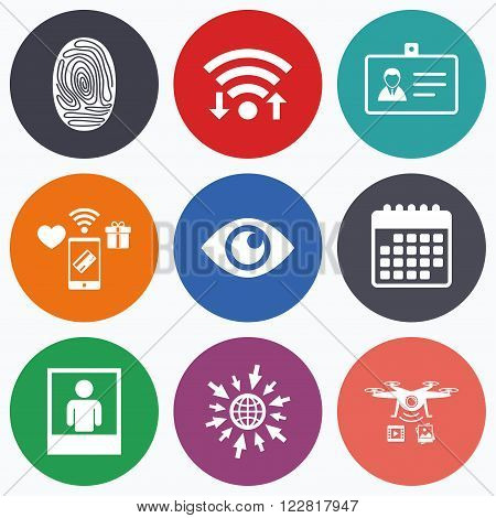 Wifi, mobile payments and drones icons. Identity ID card badge icons. Eye and fingerprint symbols. Authentication signs. Photo frame with human person. Calendar symbol.
