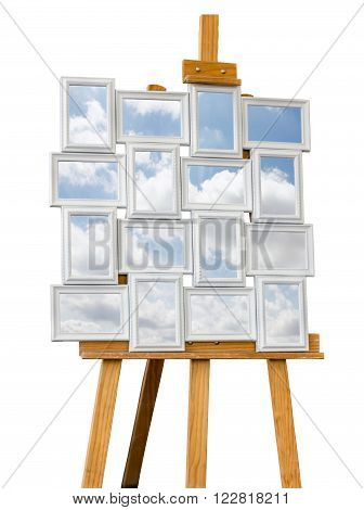 Pictures frames composition with clouds isolated on white background.