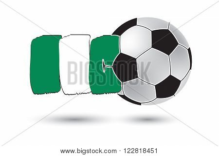 Soccer Ball And Nigeria Flag With Colored Hand Drawn Lines