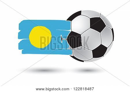 Soccer Ball And Palau Flag With Colored Hand Drawn Lines