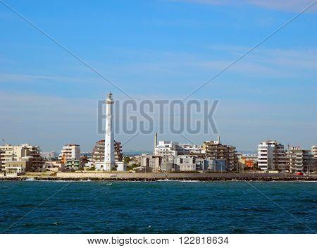 Lighthouse on the Bari coast in Italy.