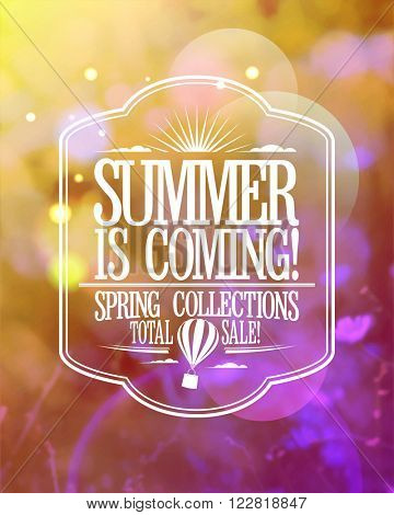 Fashion banner - summer is coming, spring collections total sale.