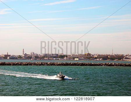 Boat near the port of Bari Italy.