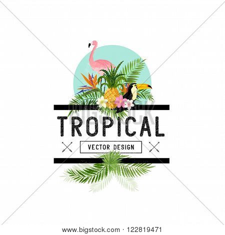 Tropical Design Elements. Various tropical objects including Toucan bird pineapple and palm leaves.