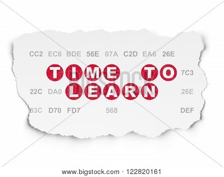 Timeline concept: Time to Learn on Torn Paper background