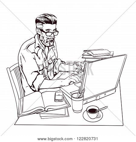 A hipster man in a jeans jacket sits at a table. Writer, journalist, scholar, student write his work in the computer. Work on the Internet. On the table, a lot paperwork. The process of study. Vector