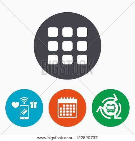 Thumbnails grid sign icon. Gallery view option symbol. Mobile payments, calendar and wifi icons. Bus shuttle.
