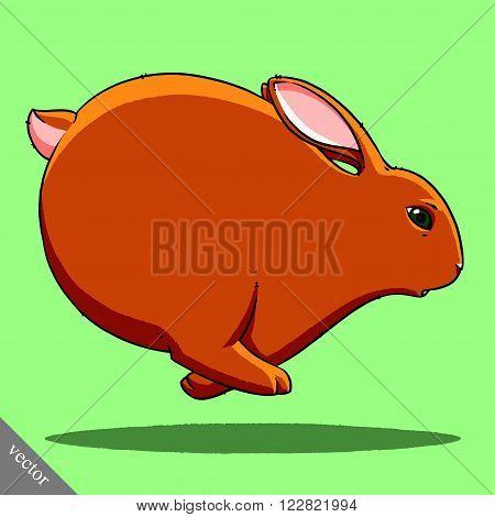 funny cartoon cute cool fat vector rabbit illustration