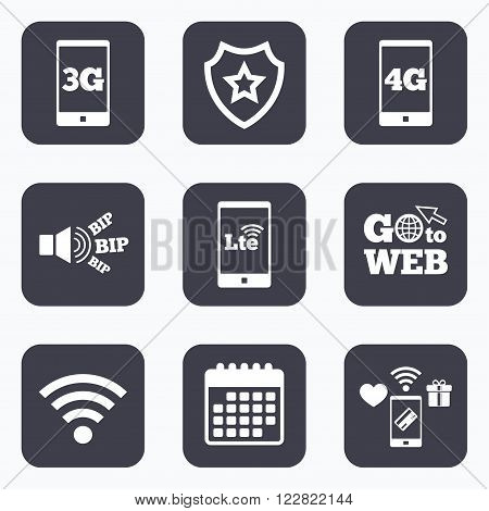 Mobile payments, wifi and calendar icons. Mobile telecommunications icons. 3G, 4G and LTE technology symbols. Wi-fi Wireless and Long-Term evolution signs. Go to web symbol.