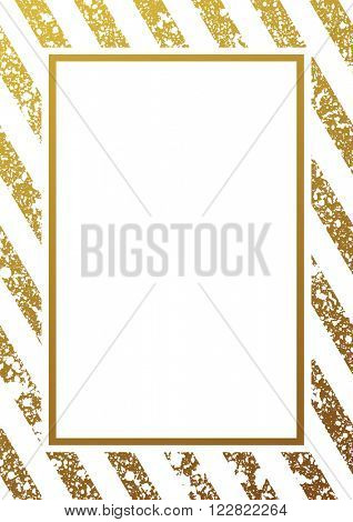 Gold glitter background. Border and gold frame. Gold lines pattern white background. Gold diagonal lines pattern. Gold background. Gold frame. Vector design
