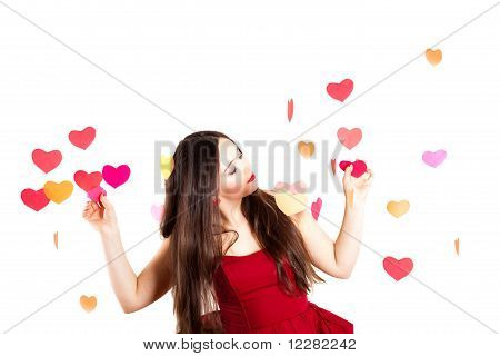 Woman In Red On Valentine's Day