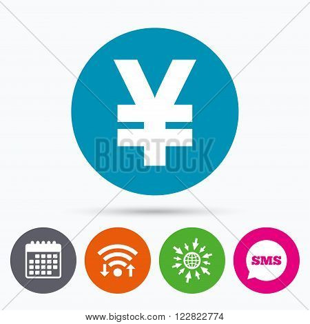 Wifi, Sms and calendar icons. Yen sign icon. JPY currency symbol. Money label. Go to web globe.