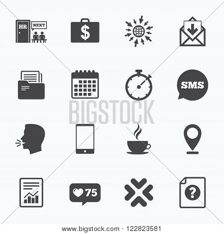 Calendar, go to web and like counter. Office, documents and business icons. Accounting, human resources and phone signs. Mail, salary and statistics symbols. Sms speech bubble, talk symbols.