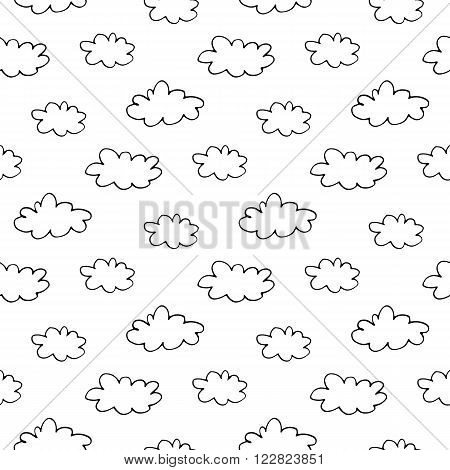 Trendy monochrome seamless vector pattern with hand drawn ink clouds for fabric, cards, invitations, wrapping paper, stationery and web backgrounds. Creative black and white whimsical sky ornament.