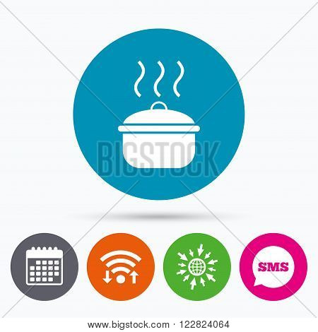 Wifi, Sms and calendar icons. Cooking pan sign icon. Boil or stew food symbol. Go to web globe.