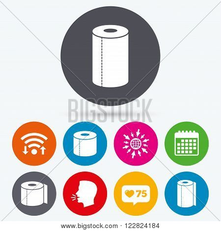Wifi, like counter and calendar icons. Toilet paper icons. Kitchen roll towel symbols. WC paper signs. Human talk, go to web.