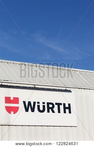 Villefranche, France - January 24, 2016: Wurth sign on a facade. Wurth Group is a worldwide wholesaler of power tools, chemicals and safety products.