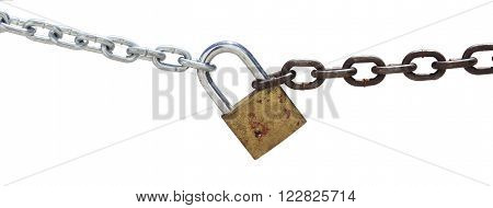 Chain and padlock isolated on white background.