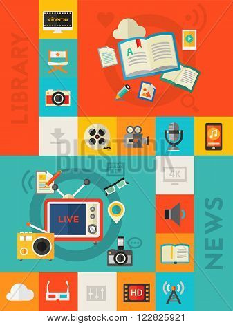 Audio and Library Online Cloud Storage concept. Flat material style vector illustration online web vertical banner with flat colored icons collection