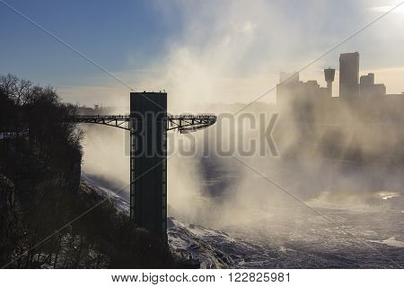 observation deck tower at Niagara Falls on the border Ontario river between the USA and Canada Ontario in winter time