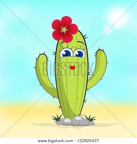 Cactus flower cactus isolated. Pot Cactus logo. Cactus icon Vector cactus pot. Cartoon Cactus Illustration. Dessert flora. Green Cactus dwarf cactus.