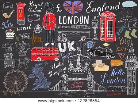 London city doodles elements collection. Hand drawn set with tower bridge crown big ben royal guard red bus UK map and flag tea pot lettering vector illustration on chalkboard.