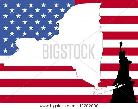 map of New York on American flag with statue of Liberty