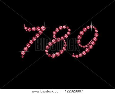Numerals 7 8 and 9 in stunning Ruby Script precious round jewels isolated on black.