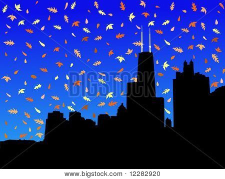 Chicago skyline in autumn with falling leaves illustration