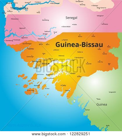 color map of Guinea-Bissau