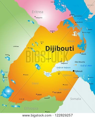 vector color map of Djibouti