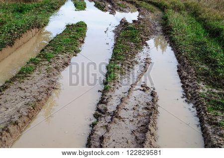 Muddy water in a deep rut of country dirt road after rain