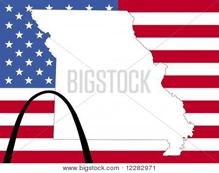 map of Missouri on American flag with Gateway arch