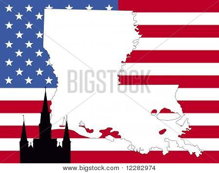 map of Louisiana on American flag with St Louis cathedral new Orleans