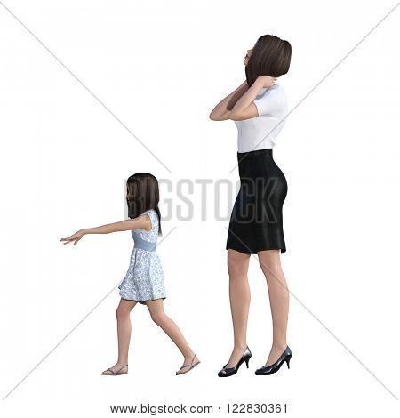 Mother Daughter Interaction of Bossy Girl as an Illustration Concept