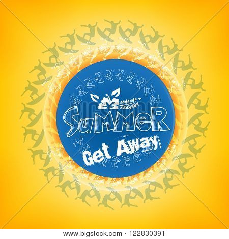 Summer Get Away Title in a Round Blue Color with a Surfers including White Flower including Orange Background. Vector Illustration