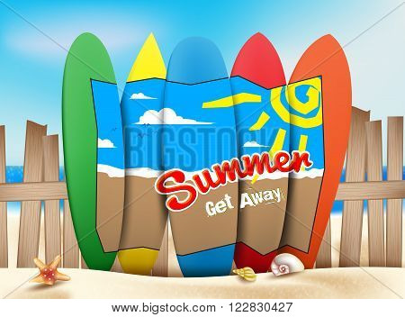 Summer Get Away Concept in the Seashore of the Beach with a Drawing Design on a Colorful Surfboards in Sunny Bright Ocean or Sea Background. Vector Illustration